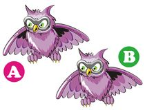 Spot the 7 differences. Game for children's: find the 7 differences between these two owls Vector Illustration
