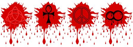 Spot of blood with symbols isolated Royalty Free Stock Images