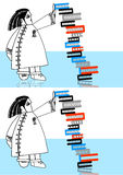 Spot the difference. Spot ten differences of a woman standing with a stack of books Stock Photos