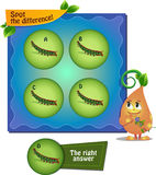 Spot the difference caterpillar. Visual Game for children. Task: Spot the difference Stock Images