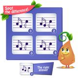 Spot the difference  musical notes Royalty Free Stock Images
