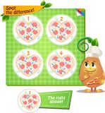 Spot the difference singing pizza. Visual Game for children. Task: Spot the difference singing pizza Royalty Free Stock Photography