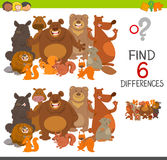 Spot the differences activity. Cartoon Illustration of Spot the Differences Educational Game for Children with Bears and Beavers and Squirrels Animal Characters Stock Photo