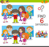 Spot the differences activity. Cartoon Illustration of Spot the Differences Educational Game with Children Characters Group Stock Photo