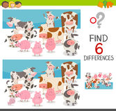 Spot the differences with animals. Cartoon Illustration of Spot the Differences Educational Game for Children with Cows and Pigs Farm Animal Characters Royalty Free Stock Photo