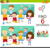Spot the differences with children. Cartoon Illustration of Spot the Differences Educational Game for Children with Kids Characters Group Royalty Free Stock Photography