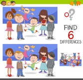 Spot the differences with children. Cartoon Illustration of Spot the Differences Educational Game for Children with Kids Characters Group Stock Image