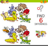 Spot the differences with cute insects. Cartoon Illustration of Spot the Differences Educational Activity Game for Children with Insects Animal Characters Group Stock Images