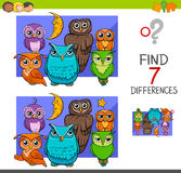 Spot the differences with cute owl birds. Cartoon Illustration of Find the Differences Educational Activity Game for Children with Owls Animal Characters Group Royalty Free Stock Photos
