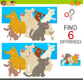 Spot the differences with dogs. Cartoon Illustration of Spot the Differences Educational Game for Children with Dog Characters Group Royalty Free Stock Photo