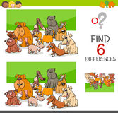 Spot the differences with dogs or puppies. Cartoon Illustration of Spot the Differences Educational Game for Children with Dog Animal Characters Group Royalty Free Stock Images