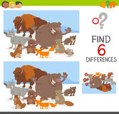 Spot differences game with animals. Cartoon Illustration of Spot the Differences Educational Game for Children with Animal Characters Royalty Free Stock Photo
