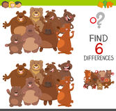 Spot differences game with bears. Cartoon Illustration of Spot the Differences Educational Game for Children with Bears Animal Characters Group Stock Image
