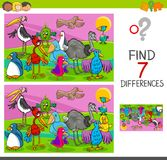 Spot differences game with birds characters. Cartoon Illustration of Searching Differences Between Pictures Educational Activity Game for Children with Colorful Stock Photography