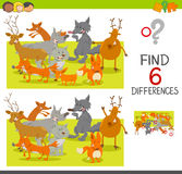 Spot the differences game. Cartoon Illustration of Spot the Differences Educational Game for Children with Foxes and Deer and Wolves Animal Characters Stock Photos