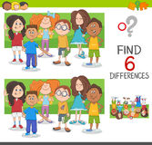 Spot the differences game. Cartoon Illustration of Spot the Differences Educational Game with Elementary Age Children Characters Group Stock Images