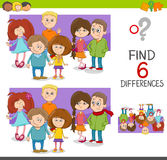 Spot the differences game with kids. Cartoon Illustration of Spot the Differences Educational Game for Children with Elementary Age Kid Characters Group Stock Image