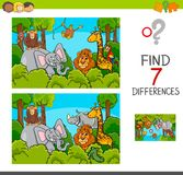Spot the differences game with wild animals. Cartoon Illustration of Find the Differences Between Pictures Educational Activity Game for Children with Wild Royalty Free Stock Photography