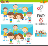 Spot the differences with kids. Cartoon Illustration of Spot the Differences Educational Game for Kids with Children Characters Group Royalty Free Stock Photos