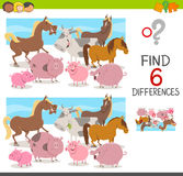 Spot the differences for kids. Cartoon Illustration of Spot the Differences Educational Game for Children with Cow and Pigs and Horses Farm Animal Characters Royalty Free Stock Photo