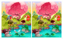 Spot the differences, six changes between the two illustrations. Royalty Free Stock Image