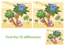 Spot the Differences Skill Game with Answer Image. Illustrated Spot the Differences Skill Game with Answer Image Featuring Animals Cartoon Characters Stock Photo