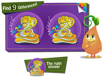 Spot 9 differences snake 2. Visual Game for children. spot 9 differences snake vector illustration