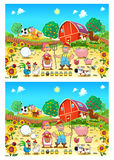 Spot the differences. Two images with six changes between them, vector and cartoon illustrations Royalty Free Stock Photo