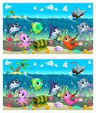 Spot the differences. Two images with six changes between them, vector and cartoon illustrations Stock Images