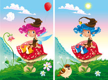 Spot the differences. Two images with ten changes between them, vector and cartoon illustrations Royalty Free Stock Images