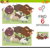 Spot the differences worksheet. Cartoon Illustration of Spot the Differences Educational Game for Children with Bulls and Sheep and Donkeys Farm Animal Royalty Free Stock Images
