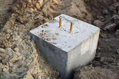 Spot footing. Built on sand Stock Photo