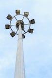 Spot-light башня на дороге на голубом небе Стоковое фото RF