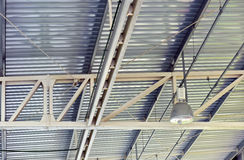 Spot light in industrial plant ceiling Stock Image