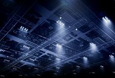 Spot light on interior roof of exhibition hall Stock Photography