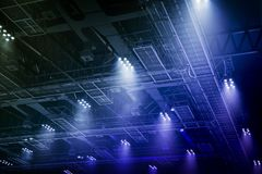 Spot light on interior roof of exhibition hall Stock Photos