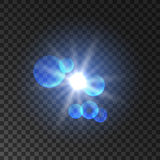Spot light with lens flare effect. Lamp flash Royalty Free Stock Photos