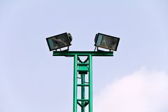 Spot light pole at stadium. Royalty Free Stock Image