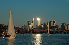 Spot Light on Sailing. Sailing into the Seattle Sunset Stock Photography