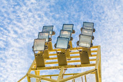 Spot-light tower with blue sky Royalty Free Stock Photo
