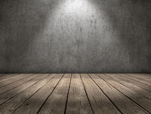 Spot light wood floor Stock Photo