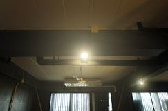 Spot lighting over dark background, stage illumination equipment stock photo