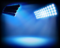Spot lighting on the stadium. Vector illustration. Royalty Free Stock Photography