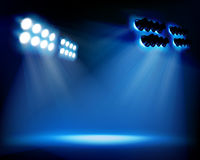 Spot lighting on the stage. Vector illustration. Stock Photos