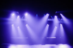 Spot lights on a Empty Stage. Before a Big Concert Royalty Free Stock Image