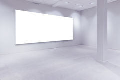 Spot lights and empty white copy space on gallery wall Stock Photos