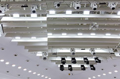 Spot lights near ceiling of theatre stage Royalty Free Stock Photography