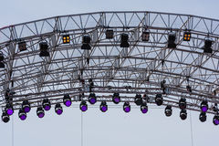 Spot lights over the stage. Outdoor shot stock photo