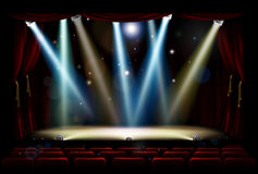 Spot Lights Theatre Stage. A theatre or theater stage and audience seating with footlights, spotlights and red curtains Stock Photography