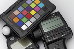 Spot Meter, flash meter and test target Royalty Free Stock Photo